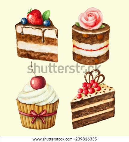 Hand painted watercolor set of sweet cupcakes. Vector illustration. - stock vector