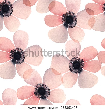 Hand painted watercolor vector anemone seamless pattern background - stock vector