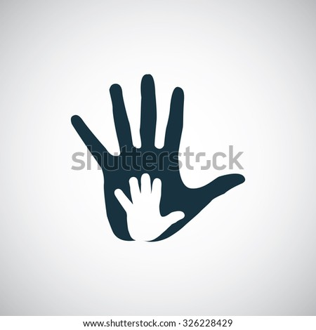 hand palm in palm icon, on white background