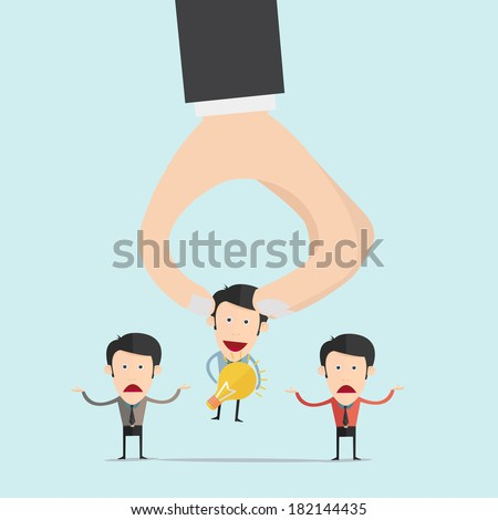 Hand pick idea outstanding idea from another people for Human Resources concept   - stock vector