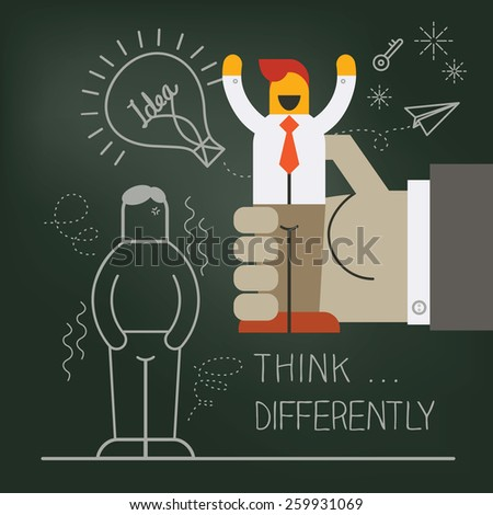 Hand pick up businessman manikin illustration with think differently creative concept - stock vector