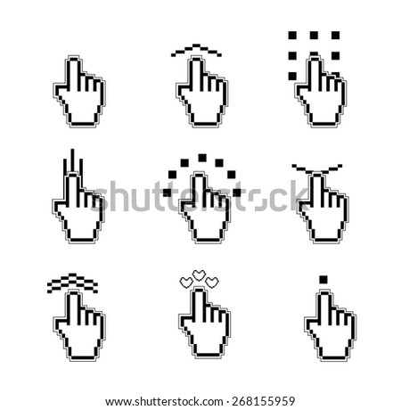 hand pixel hand pointer black icons set vector design