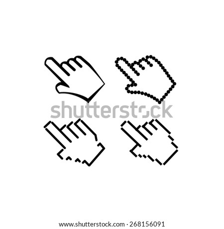 hand pixel hand pointer black icons set vector design - stock vector