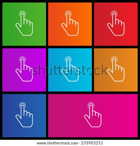 Hand point icon. Touch icon, hand with pressed finger. Metro style