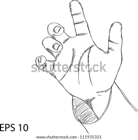 Hand point Vector Sketch Up, EPS 10. - stock vector