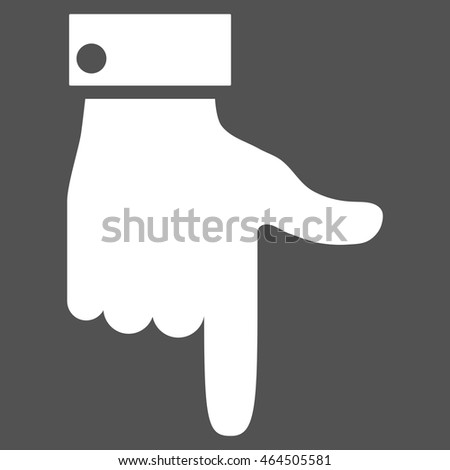 Hand Pointer Down vector icon. Image style is flat hand pointer down pictogram symbol drawn with white color on a gray background.