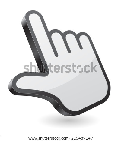 hand pointer icon 3d design - stock vector