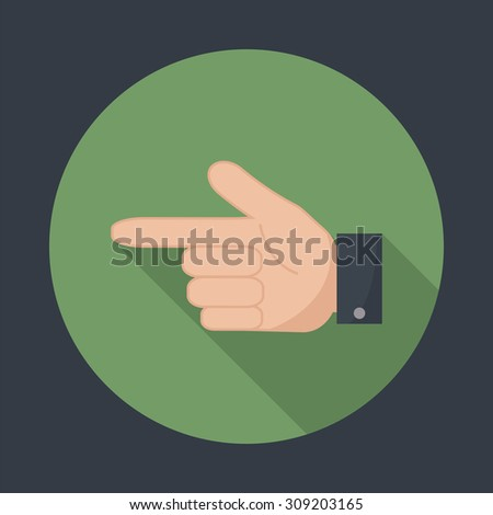 Hand pointer icon. Forefinger icon. Round flat vector icon  with long shadow. EPS 10. - stock vector