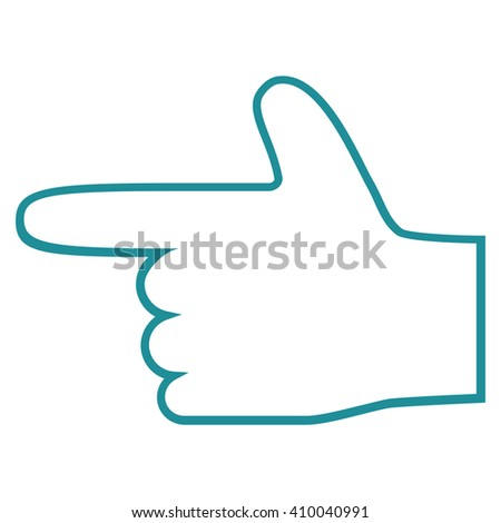 Hand Pointer Left vector icon. Style is contour icon symbol, soft blue color, white background. - stock vector