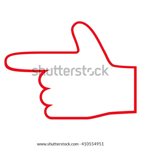 Hand Pointer Left vector icon. Style is outline icon symbol, red color, white background. - stock vector