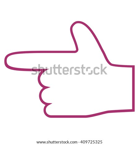 Hand Pointer Left vector icon. Style is stroke icon symbol, purple color, white background. - stock vector