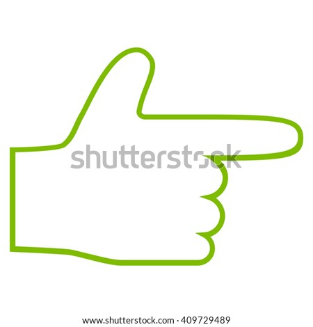 Hand Pointer Right vector icon. Style is contour icon symbol, eco green color, white background.