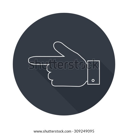 Hand pointer  silhouette icon. Forefinger icon. Round flat vector icon  with long shadow. EPS 10. - stock vector