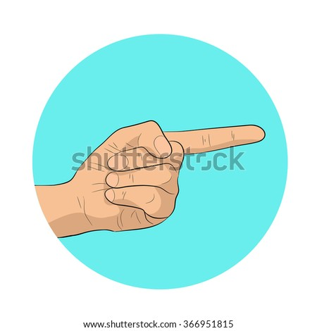 Hand pointing finger man business concept objective a forward direction. - stock vector