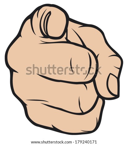 hand pointing (finger pointing, hand pointing at viewer)    - stock vector