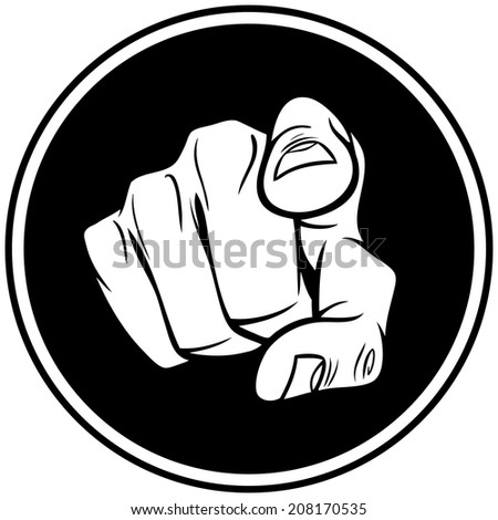 Hand Pointing Insignia - stock vector