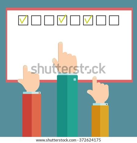 Hand pointing on check mark- approved on form - stock vector