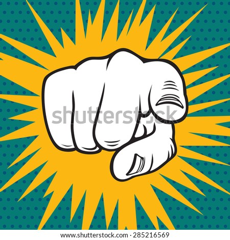 Hand pointing pop art vector illustration - stock vector