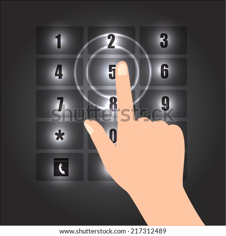 Hand Pointing Smart Phone Touch/Numeric Keypad Icon on Abstract Black Background. Vector Illustration. - stock vector