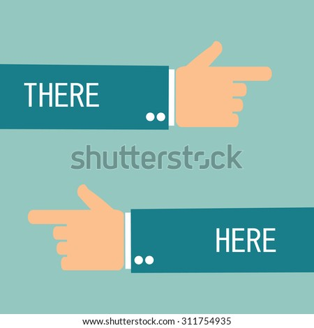 hand pointing there and here. left and right - stock vector