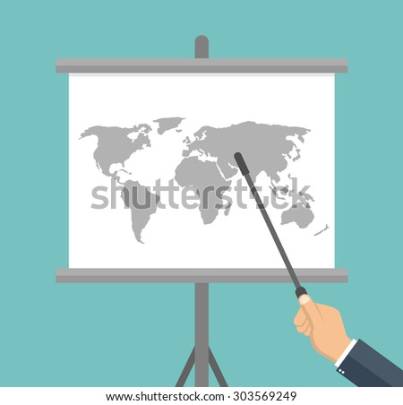 Hand pointing to a flip chart with world map on it - stock vector