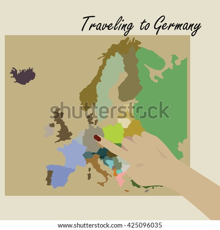 Hand pointing to map the Germany. Traveling to Germany. Map of Europe. - stock vector