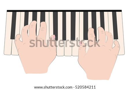 hand position when playing the piano. vector illustration.