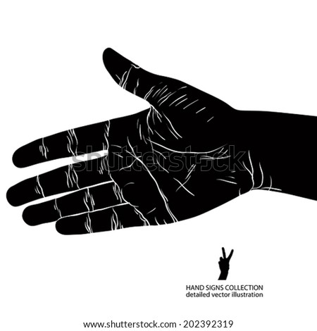 Hand prepared for handshake, detailed black and white vector illustration. - stock vector