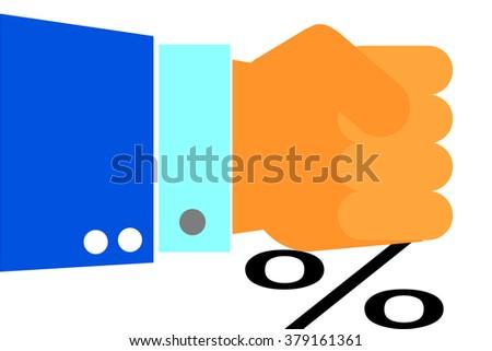 Hand - Press Percentage   - stock vector