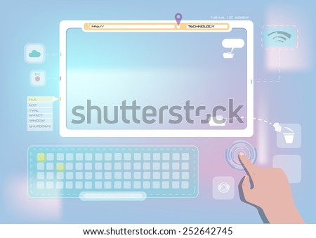 Hand presses on screen of digital computer with flat operating system. Neat and Nice Flat User Interface.