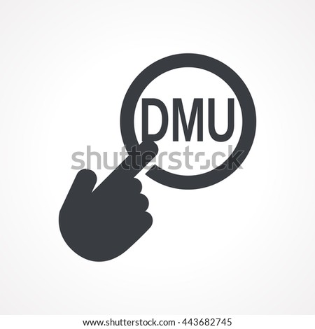 "Hand presses the button with text ""DMU"". Vector illustration - stock vector"