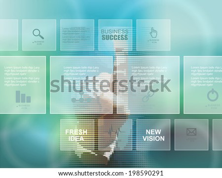 Hand pressing high tech type of modern buttons and business diagram on a virtual background  - stock vector