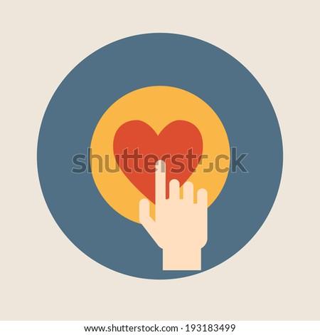 Hand pressing like ( heart ) button flat design vector illustration  - stock vector