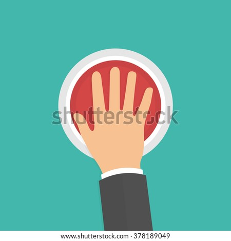 Hand pressing or pushing the big red button. Top view. Flat style - stock vector