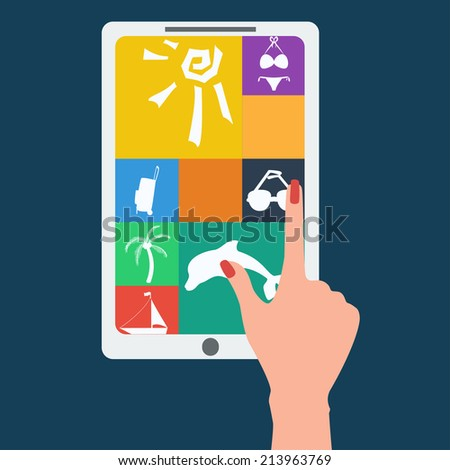 Hand pressing the icon on the tablet. Flat style, vector illustration - stock vector