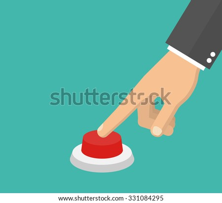 Hand pressing the red button. Flat style . Side view - stock vector