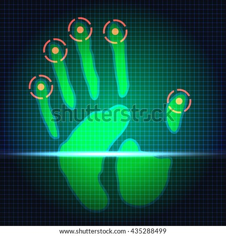 hand print identification system scanner - stock vector