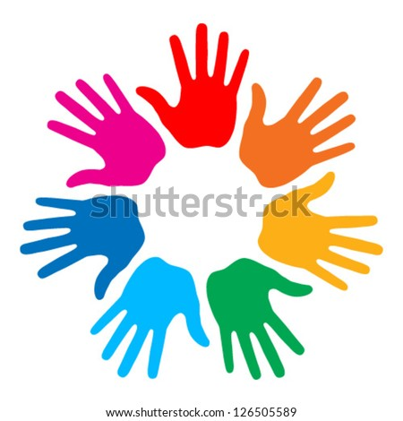Hand Print logo, vector illustration - stock vector