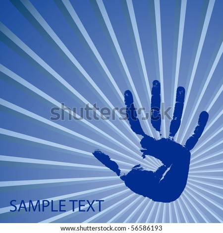 Hand print on a blue background. Vector illustration - stock vector