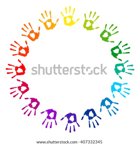 Hand Print Round Frame On White Stock Vector 397426414