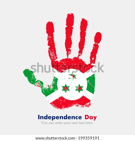 Hand print, which bears the flag. Independence Day. Grungy style. Grungy hand print with the flag. Hand print and five fingers. Used as an icon, card, greeting, printed materials. Flag of Burundi