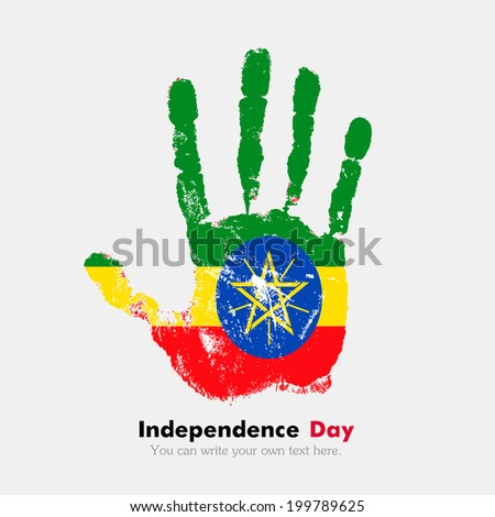 Hand print, which bears the flag. Independence Day. Grungy style. Grungy hand print with the flag. Hand print and five fingers. Used as an icon, card, greeting, printed materials. Flag of Ethiopia