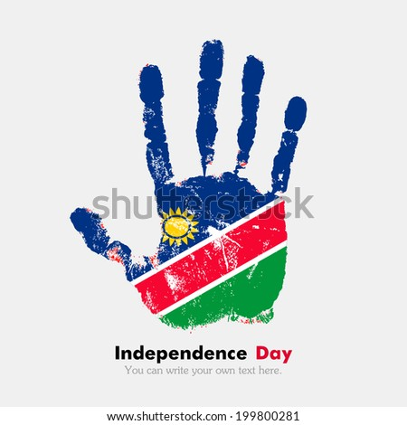 Hand print, which bears the flag. Independence Day. Grungy style. Grungy hand print with the flag. Hand print and five fingers. Used as an icon, card, greeting, printed materials. Flag of Namibia