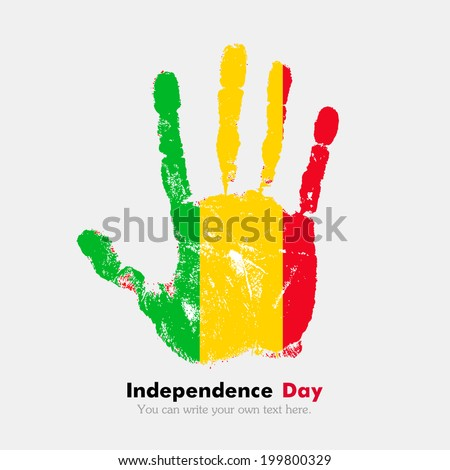 Hand print, which bears the flag. Independence Day. Grungy style. Grungy hand print with the flag. Hand print and five fingers. Used as an icon, card, greeting, printed materials. Flag of Mali