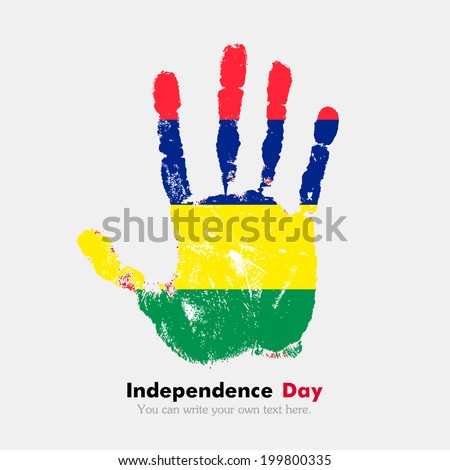 Hand print, which bears the flag. Independence Day. Grungy style. Grungy hand print with the flag. Hand print and five fingers. Used as an icon, card, greeting, printed materials. Flag of Mauritius