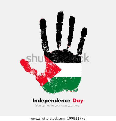 Hand print, which bears the flag. Independence Day. Grungy style. Grungy hand print with the flag. Hand print and five fingers. Used as an icon, card, greeting, printed materials. Flag of Palestine