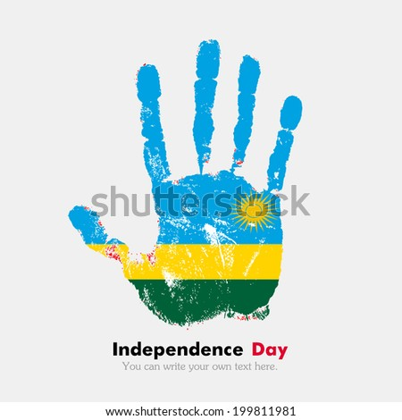 Hand print, which bears the flag. Independence Day. Grungy style. Grungy hand print with the flag. Hand print and five fingers. Used as an icon, card, greeting, printed materials. Flag of Rwanda