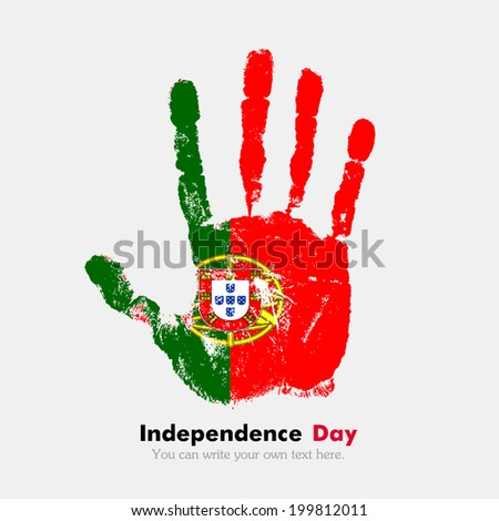 Hand print, which bears the flag. Independence Day. Grungy style. Grungy hand print with the flag. Hand print and five fingers. Used as an icon, card, greeting, printed materials. Flag of Portugal