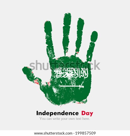 Hand print, which bears the flag. Independence Day. Grungy style. Grungy hand print with the flag. Hand print and five fingers. Used as an icon, card, greeting, printed materials. Flag of Saudi Arabia - stock vector