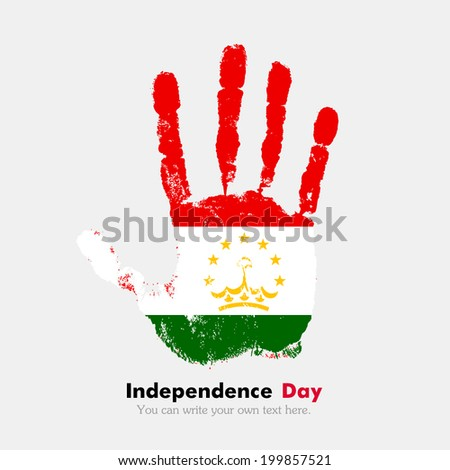 Hand print, which bears the flag. Independence Day. Grungy style. Grungy hand print with the flag. Hand print and five fingers. Used as an icon, card, greeting, printed materials. Flag of Tajikistan